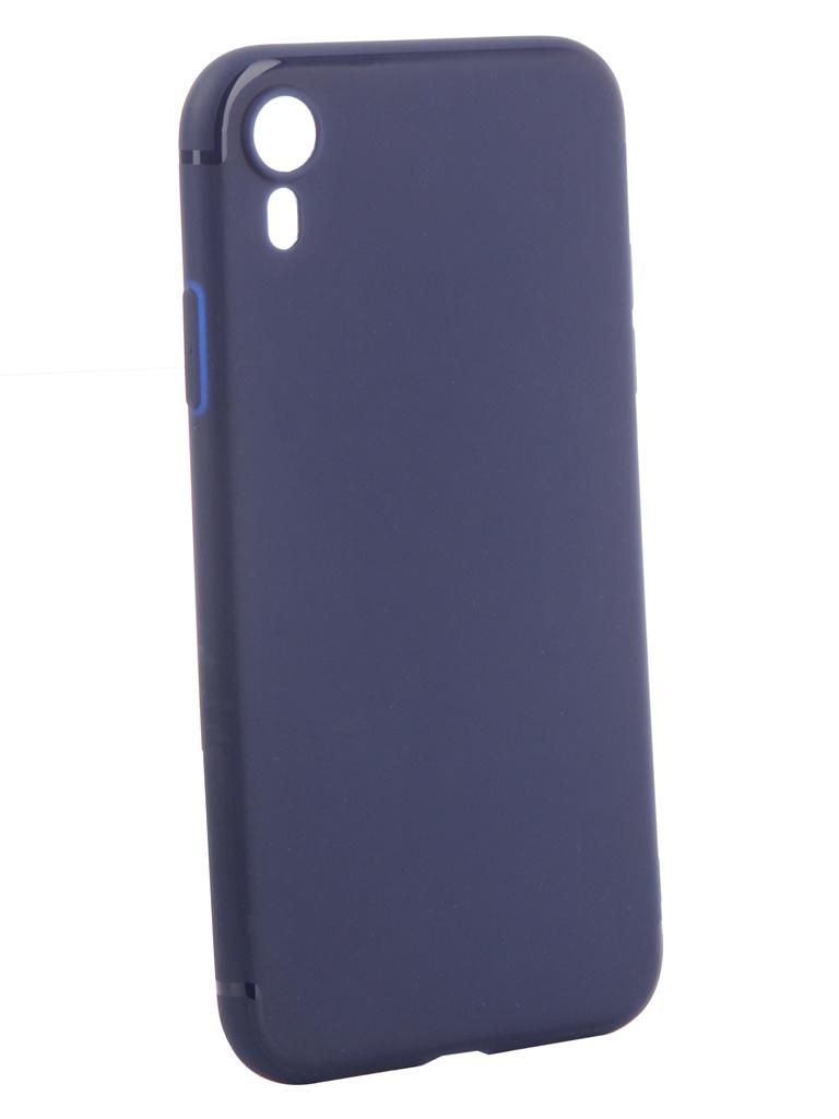Аксессуар Чехол Brosco для APPLE iPhone XR Softtouch Silicone Blue IPXR-TPU-ST-BLUE