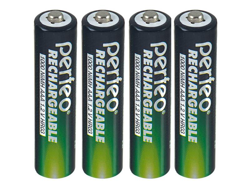 Аккумулятор AAA - Perfeo 1000 mAh PF AAA1000/4BL+BOX (4 штуки) аккумулятор duracell hr03 4bl 850 mah aaa 4 шт
