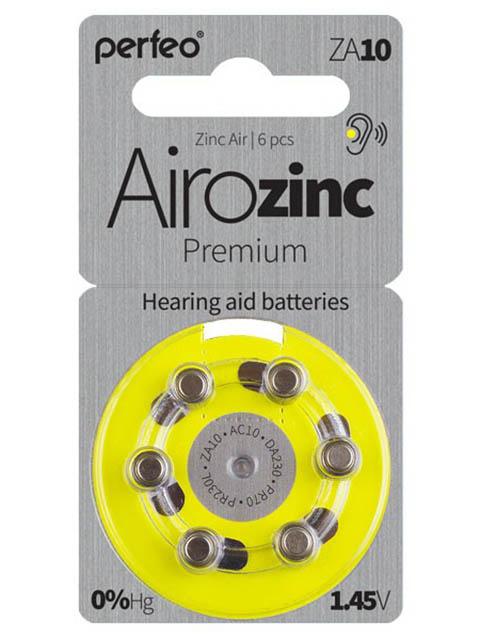 Батарейки Perfeo ZA10/6BL Airozinc Premium (6 штук)