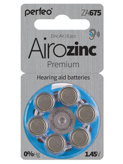 Батарейки Perfeo ZA675/6BL Airozinc Premium (6 штук)