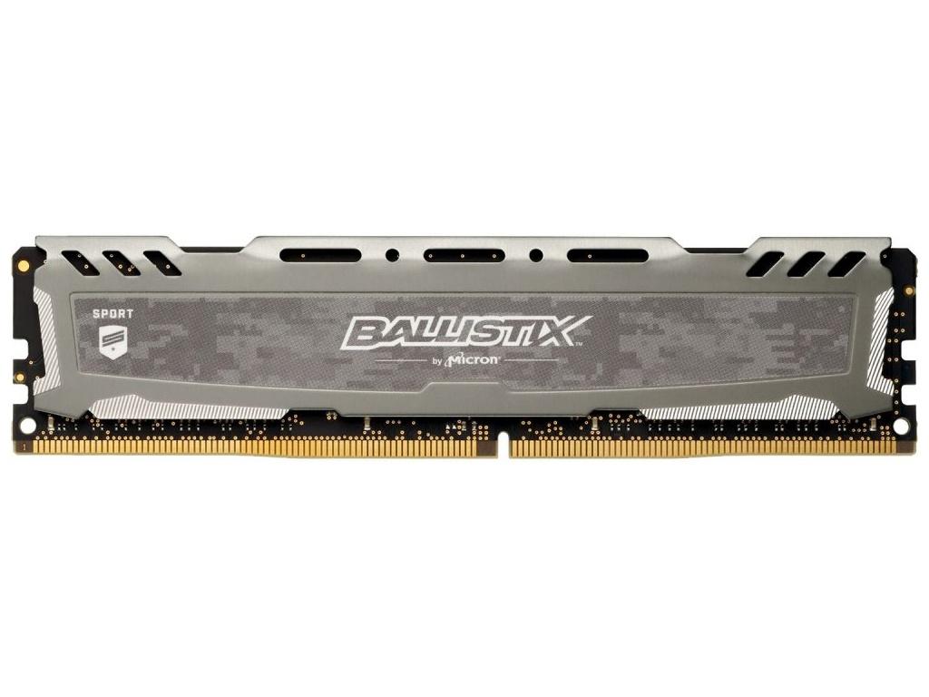 Модуль памяти Crucial Ballistix Sport LT Grey DDR4 DIMM 3200MHz PC4-25600 CL16 - 8Gb BLS8G4D32AESBK