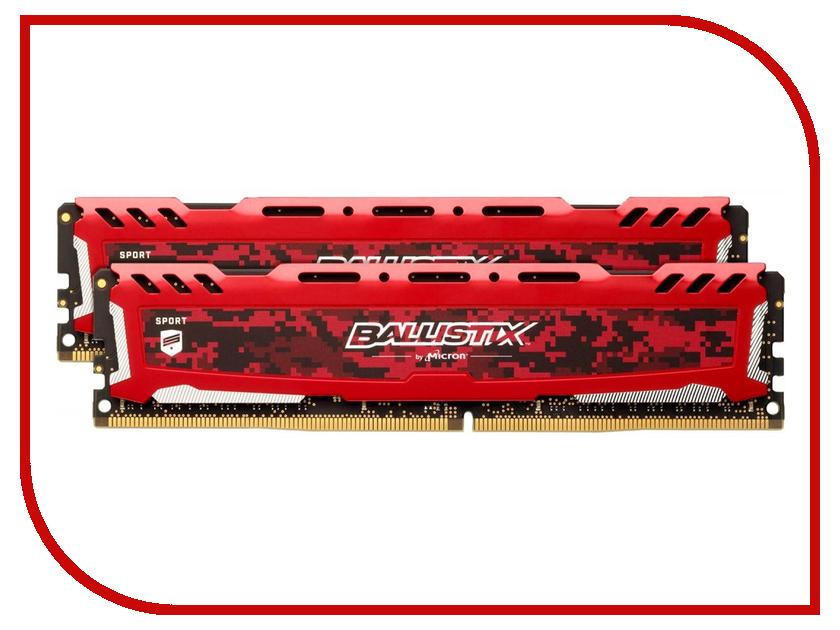 цена Модуль памяти Crucial Ballistix Sport LT Red DDR4 DIMM 3000MHz PC4-24000 CL15 - 16Gb KIT (2x8Gb) BLS2K8G4D30AESEK