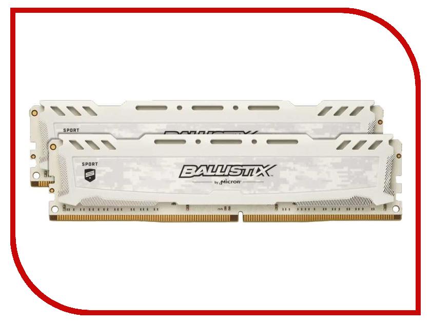 Модуль памяти Crucial Ballistix Sport LT White DDR4 DIMM 2400MHz PC4-19200 CL16 - 16Gb KIT (2x48b) BLS2K8G4D240FSC модуль памяти crucial ballistix sport lt red ddr4 dimm 2666mhz pc4 21300 cl16 4gb bls4g4d26bfse