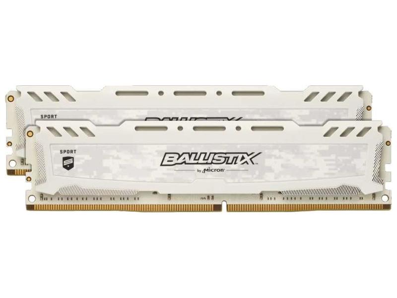 Модуль памяти Crucial Ballistix Sport LT White DDR4 DIMM 2400MHz PC4-19200 CL16 - 16Gb KIT (2x48b) BLS2K8G4D240FSC
