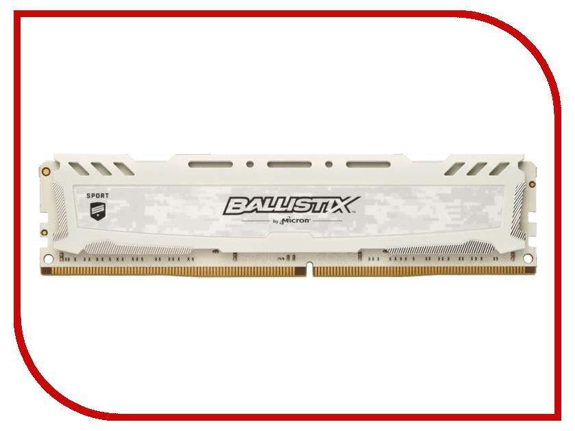 Модуль памяти Crucial Ballistix Sport LT White DDR4 DIMM 3200MHz PC4-25600 CL16 - 16Gb BLS16G4D32AESC модуль памяти crucial ballistix sport lt red ddr4 dimm 2666mhz pc4 21300 cl16 4gb bls4g4d26bfse