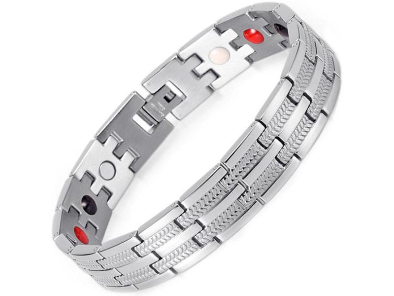 Магнитный браслет Luxor Бизнес Стандарт 4 в 1 Silver БС2
