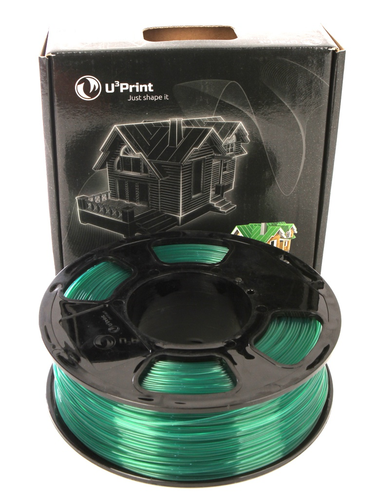 Фото - Аксессуар U3Print PLA Transparent 1.75mm 1kg Green аксессуар u3print geek fil lament abs пластик 1 75mm pigment green