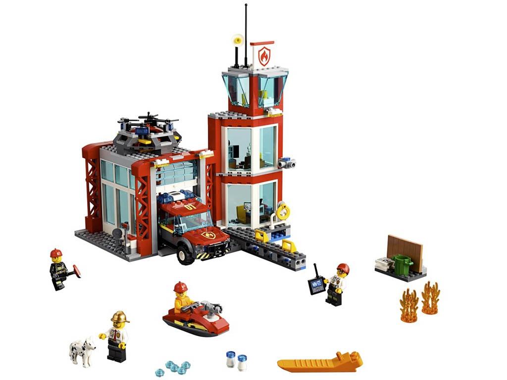 Конструктор Lego City Пожарное депо 509 дет. 60215 конструктор lego minecraft skeleton bigfig with magma cube 142 дет 21150