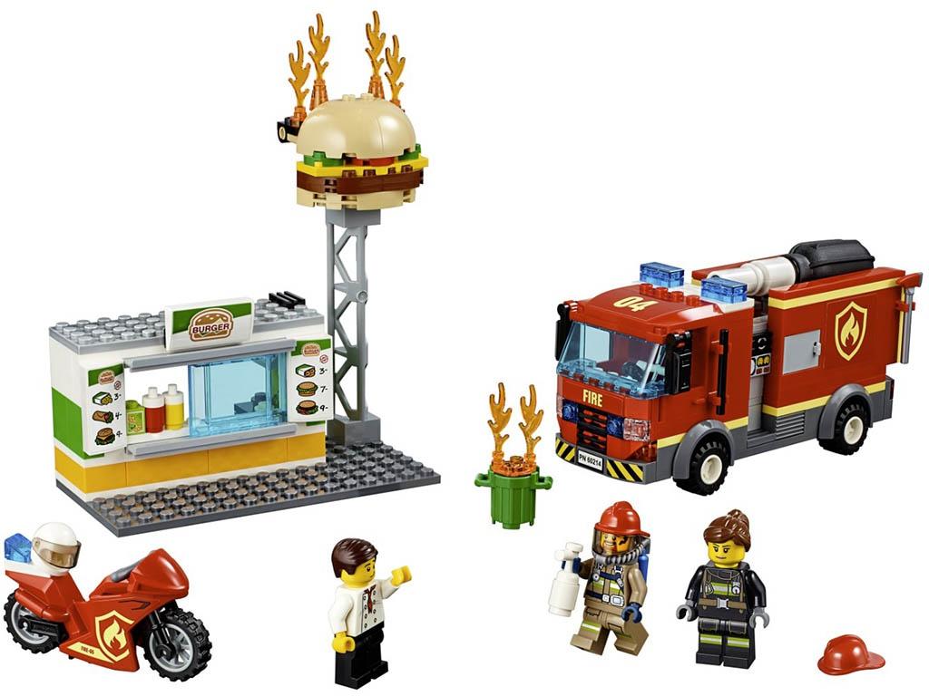 Конструктор Lego City Пожар в бугер-кафе 327 дет. 60214 конструктор lego city патрульный самолёт 54 дет 60206