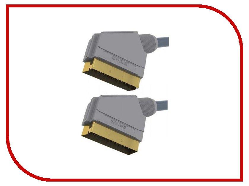 Аксессуар Belsis / Sparks SCART - SCART 1.8m SG1150 / BGL1150 Gray кабель 3 5m 2xrca 5м belsis sn1038 sparks nickel стерео аудио 3 5mm plug 2xrca