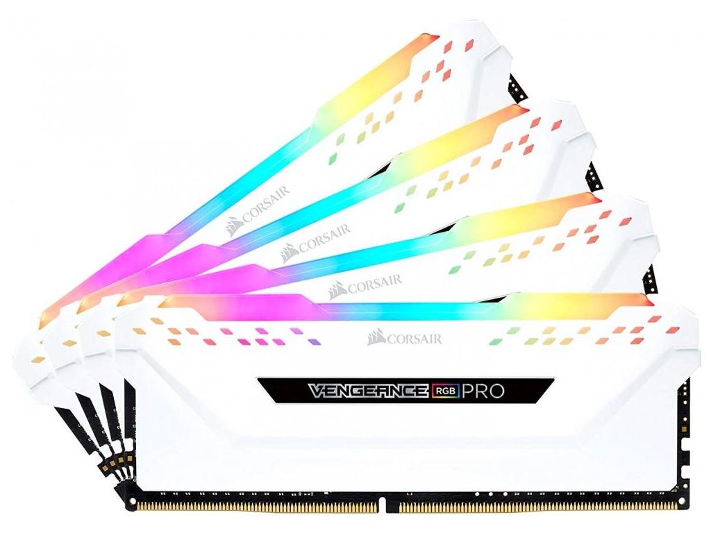 Модуль памяти Corsair Vengeance RGB Pro White DDR4 DIMM 3000MHz PC4-24000 CL15 - 32Gb KIT (4x8Gb) CMW32GX4M4C3000C15W