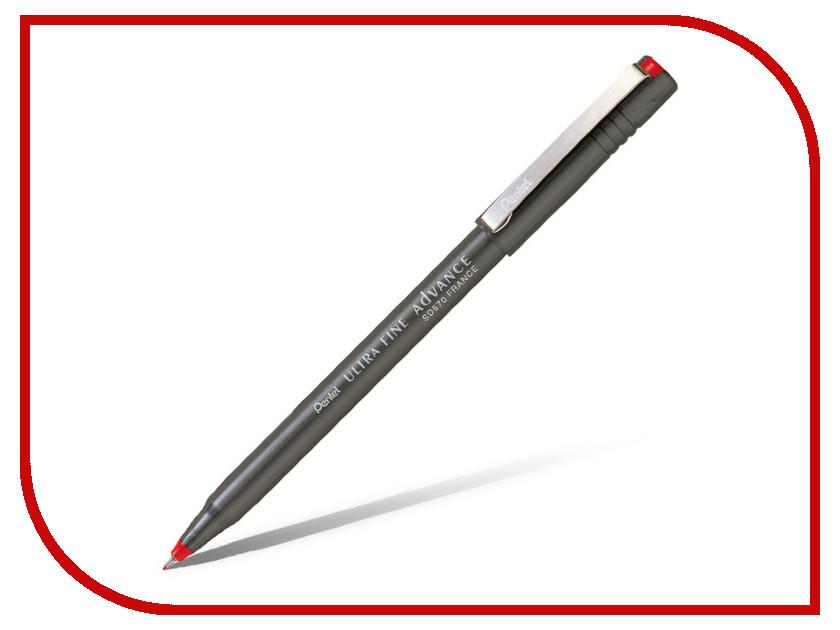 Ручка капилярная Pentel Ultra Fine Advance одноразовая 0.6mm Red SD570-B, Япония  - купить со скидкой