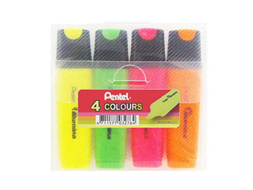 Маркер Pentel Illumnia 1-5mm набор 4 цвета SL60-4-F/G/K/P