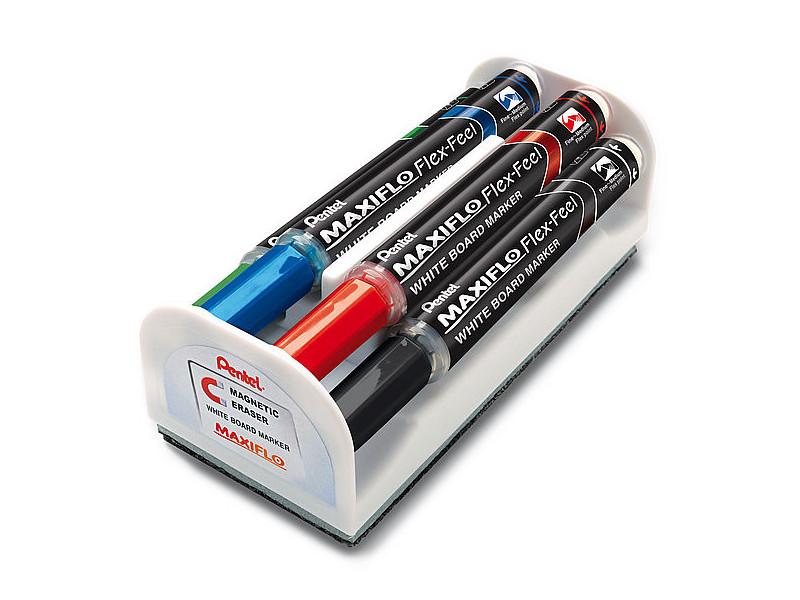 Маркер Pentel Maxiflo Flex-Feel 1-5mm набор 4 цвета MWL5SBF-4N