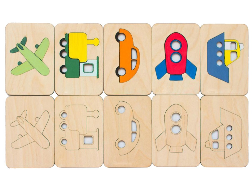 Карточки-раскраски Wood Machine Транспорт 11495.03 детский транспорт