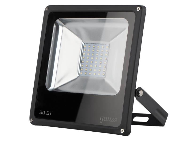 Прожектор Gauss LED 30W 2100Lm IP65 6500К Black 613100330 светодиодный прожектор gauss ip65 30w 220v 6500k