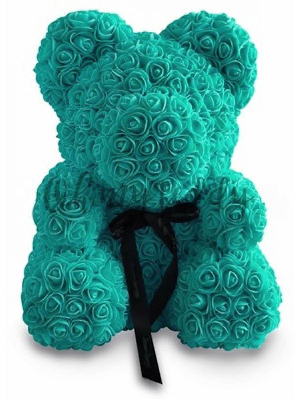 Мишка из роз с бантиком Veila 40см Turquoise
