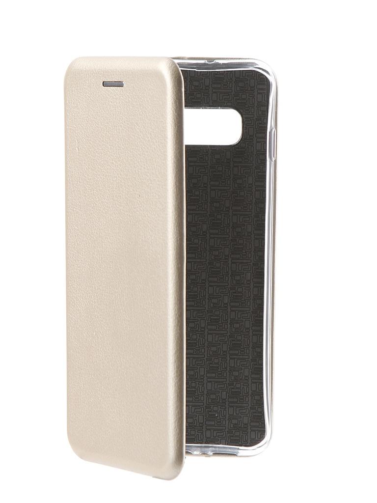 Аксессуар Чехол Innovation Book для Samsung Galaxy S10 Silicone Magnetic Gold 14664