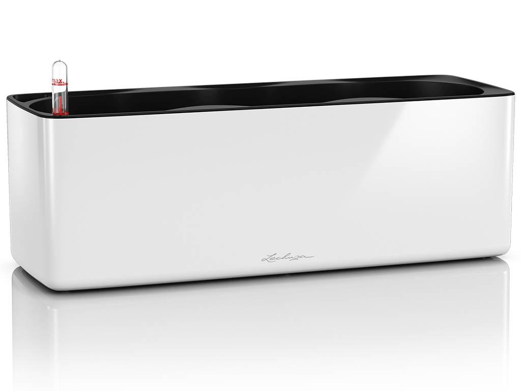 Кашпо Lechuza Кьюб Glossy Triple с системой автополива White 13670