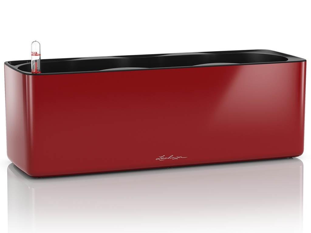 Кашпо Lechuza Кьюб Glossy Triple с системой автополива Red 13672
