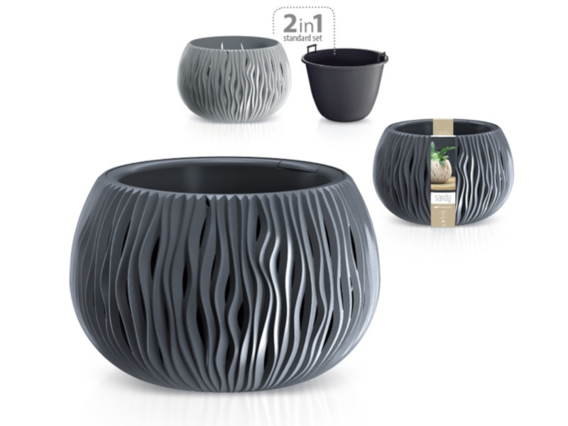 Кашпо Prosperplast Sandy Bowl DSK370-405U Grey