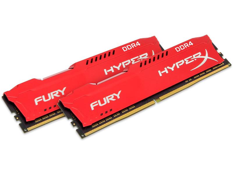 Модуль памяти Kingston HyperX Fury Red DDR4 DIMM 3466MHz PC4-27700 CL19 - 32Gb KIT (2x16Gb) HX434C19FRK2/32 модуль памяти dimm 32gb 2х16gb ddr4 pc17000 2133mhz kingston hyperx fury white hx421c14fwk2 32