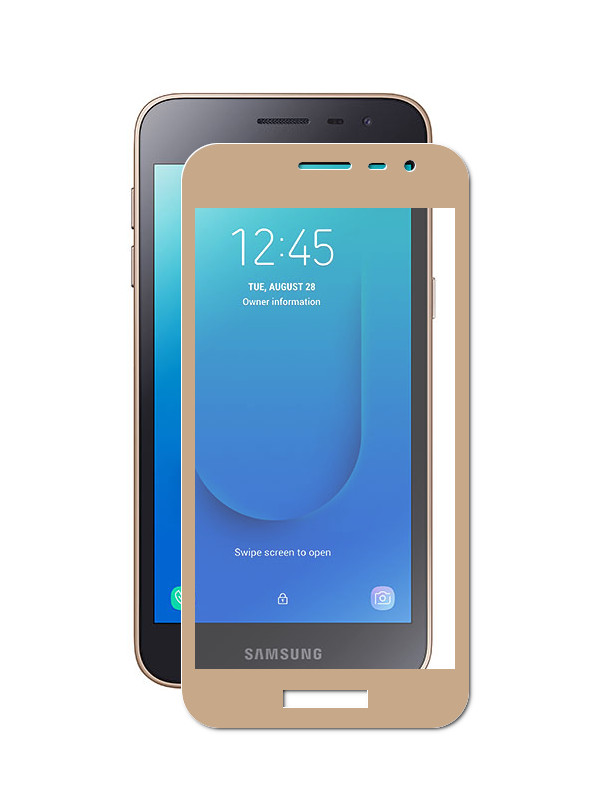 Защитное стекло Neypo для Samsung Galaxy J2 Core Full Glue Glass Gold Frame NFGL10397