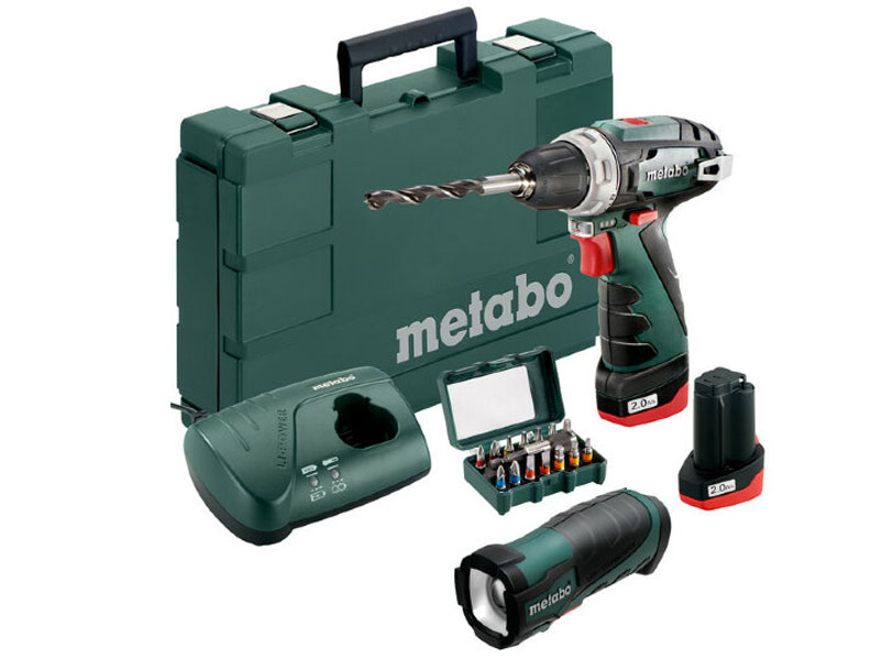 Электроинструмент Набор Metabo PowerMaxx BS Basic 10V 2.0Ah x2+TLA+LC 40+15 SP бит Case 600080930