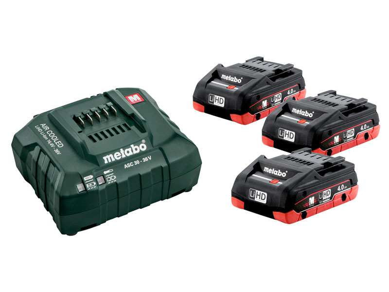 лучшая цена Комплект Metabo Basic-Set 3 x LiHD 18V 4.0Ah + ЗУ ASC 30-36 685132000