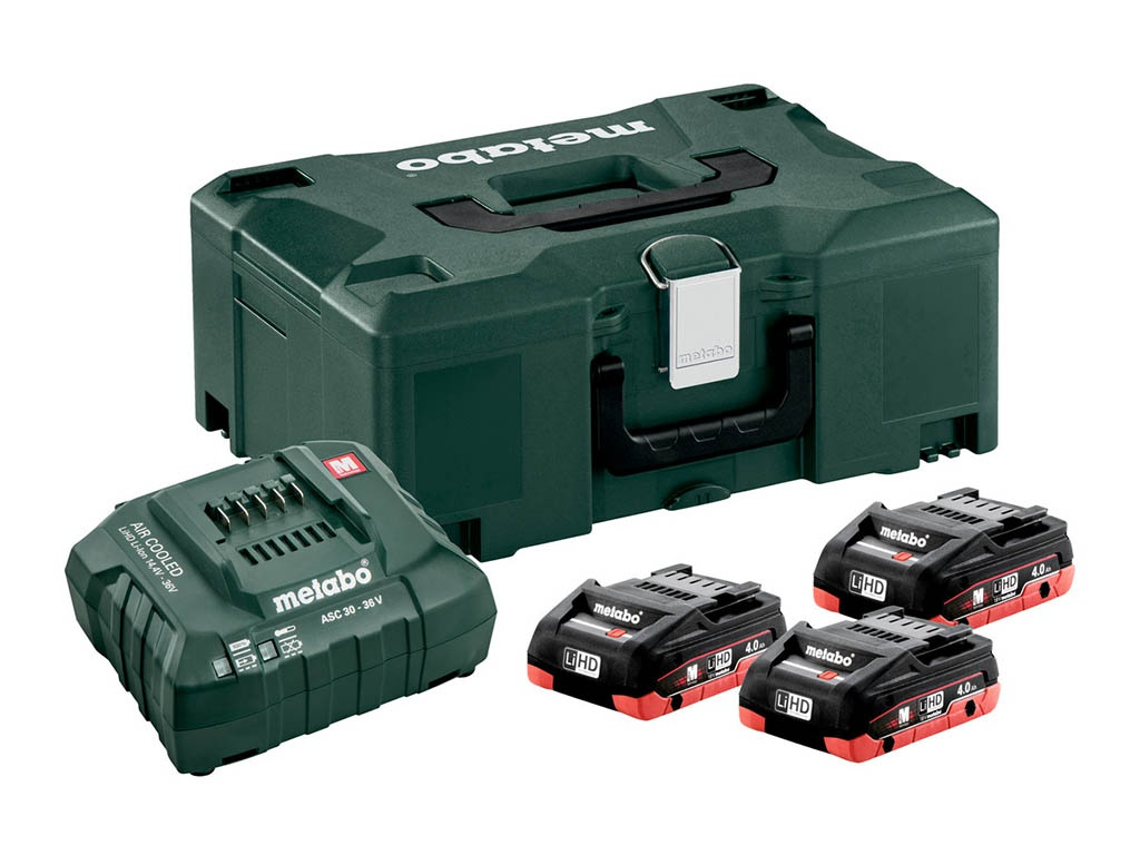 лучшая цена Комплект Metabo Basic-Set 3 x LiHD 18V 4.0Ah + ASC 30-36 + MetaLoc