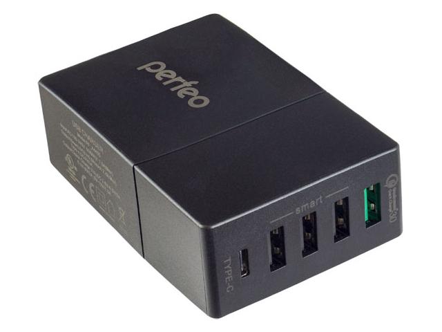 Зарядное устройство Perfeo Fast 5 3xUSB QC3.0 Type-C Black PF_A4455