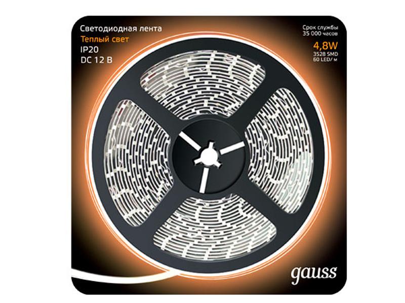 Светодиодная лента Gauss LED 2835/60-SMD 4.8W 12V DC 5m Warm White 312000105 1156 3 5w 260lm 15000k 5730 smd led cool white light decoded car brake steering lamp 12v 2pcs