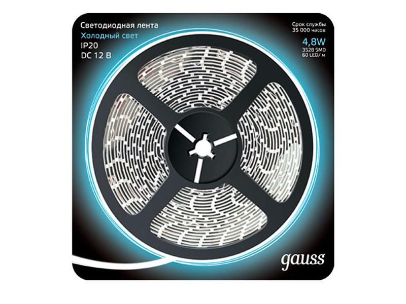 Светодиодная лента Gauss LED 2835/60-SMD 4.8W 12V DC 5m Cold White 312000305 1156 3 5w 260lm 15000k 5730 smd led cool white light decoded car brake steering lamp 12v 2pcs