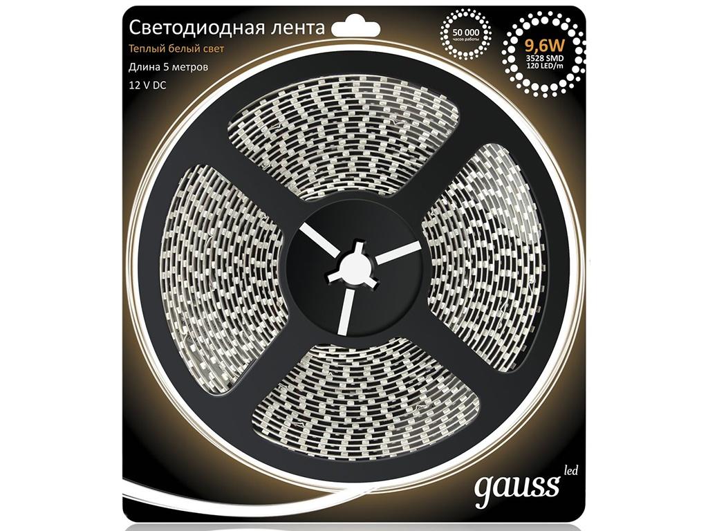 Светодиодная лента Gauss LED 2835/120-SMD 9.6W 12V DC 5m Warm White 312000110 lexing lx 035 e14 4w 300lm 3500k 80 smd 3528 led warm white spotlight bulb 220 240v