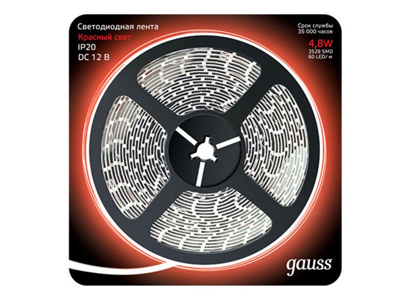 Светодиодная лента Gauss LED 2835/60-SMD 4.8W 12V DC 5m Red 312000705