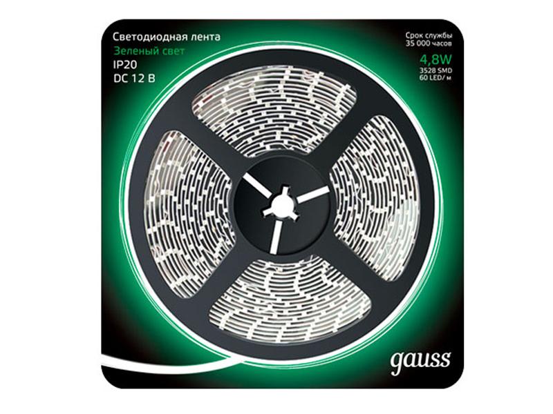 Светодиодная лента Gauss LED 2835/60-SMD 4.8W 12V DC 5m Green 312000605