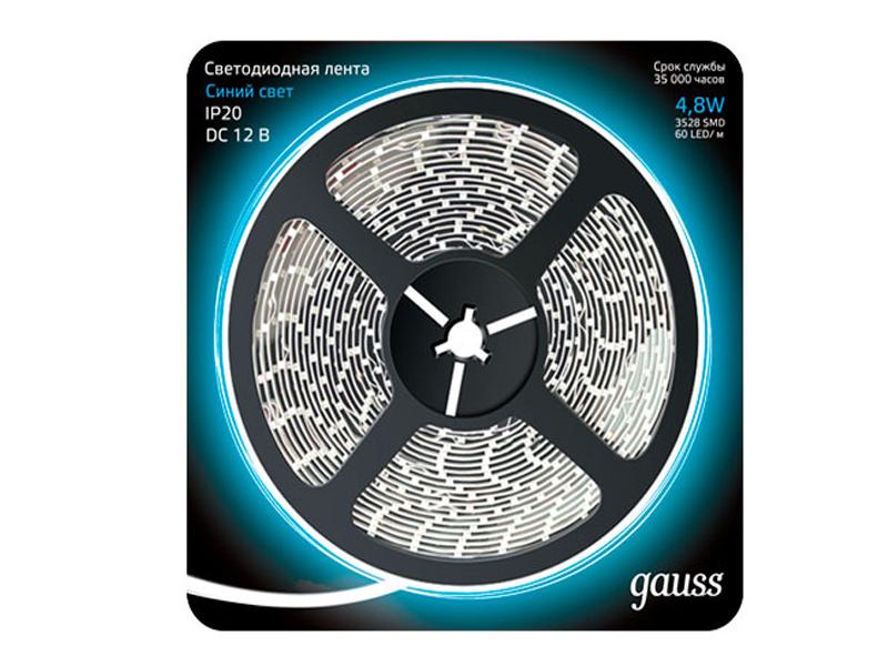 Светодиодная лента Gauss LED 2835/60-SMD 4.8W 12V DC 5m Blue 312000505