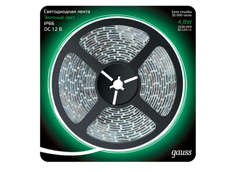 Светодиодная лента Gauss LED 2835/60-SMD 4.8W 12V DC IP66 5m Green 311000605