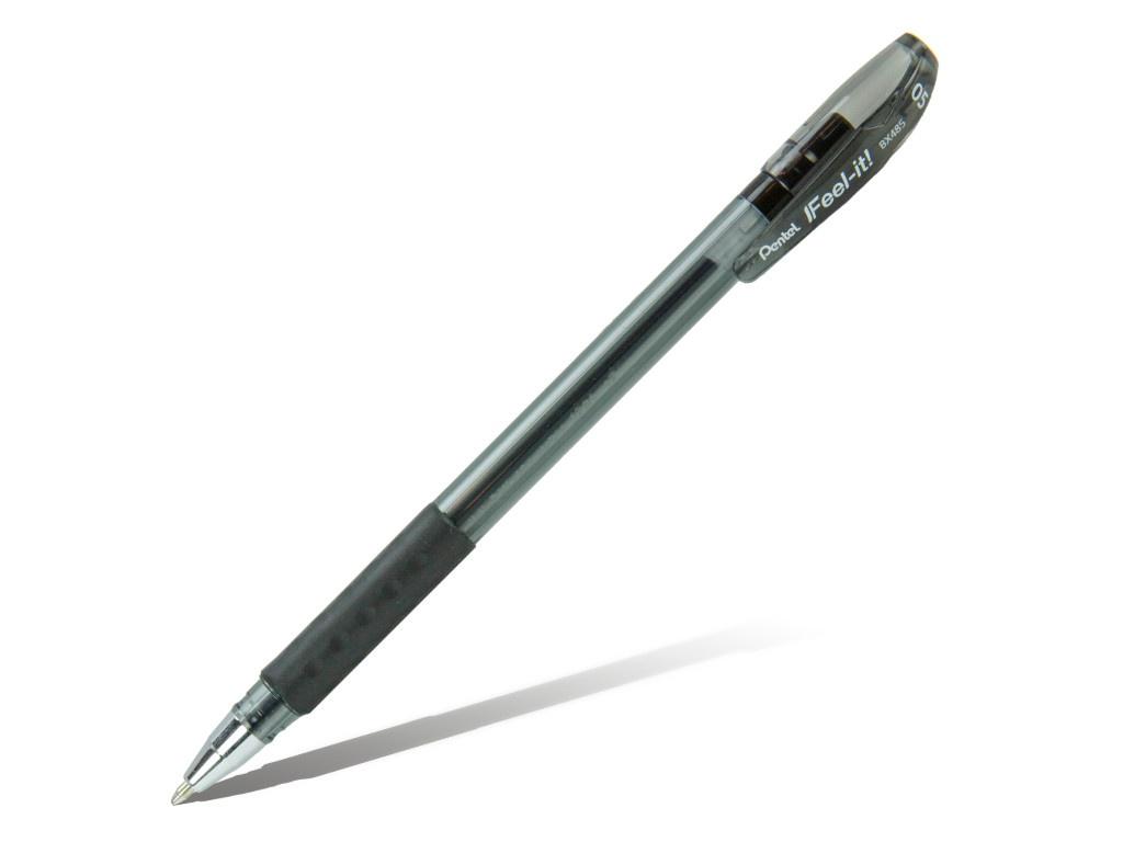 Ручка шариковая Pentel Feel it! 0.5mm корпус Black, стержень Black BX485-A