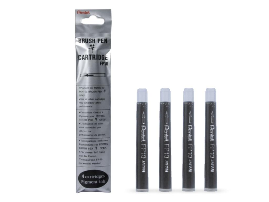 Картридж для ручки-кисти Pentel Pocket Brush Pen Black (4шт) GFKP3-A/GFKPF-A FP10-A