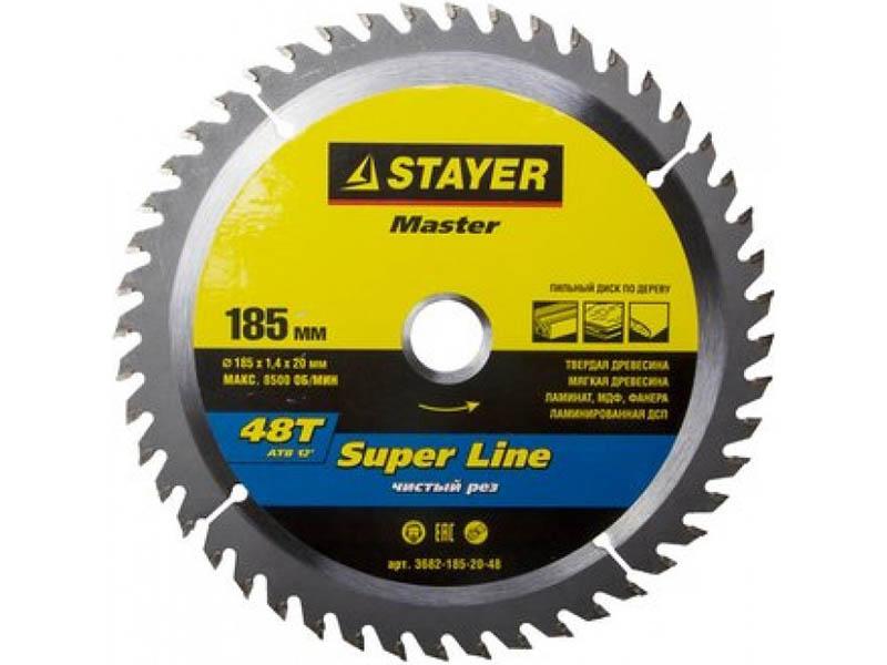 Диск Stayer Super-Line пильный по дереву 185x20mm 3682-185-20-48 круг пильный твердосплавный stayer master 3680 250 30 24 fast line по дереву 250х30мм 24t