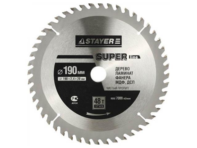 Диск Stayer Super-Line пильный по дереву 190x30mm 3682-190-30-48 круг пильный твердосплавный stayer master 3680 250 30 24 fast line по дереву 250х30мм 24t