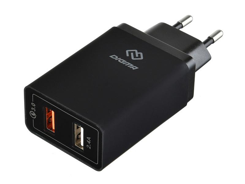 Зарядное устройство Digma 2xUSB 5.4A Black DGWC-2U-QC3.0-BK