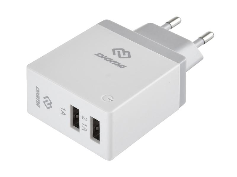 Зарядное устройство Digma 2xUSB 2.1A White DGWC-2U-3A-WG