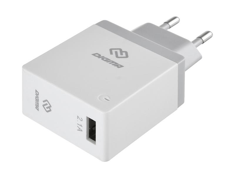 Зарядное устройство Digma USB 2.1A White DGWC-1U-2.1A-WG