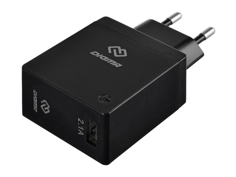 Фото - Зарядное устройство Digma USB 2.1A Black DGWC-1U-2.1A-BK зарядное