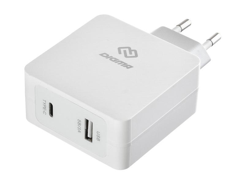 Зарядное устройство Digma USB / Type-C 5.5A White DGPD-45W-WG