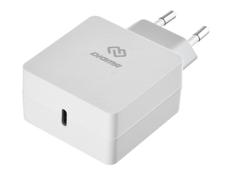 Зарядное устройство Digma USB Type-C 3A White DGPD-18W-WG
