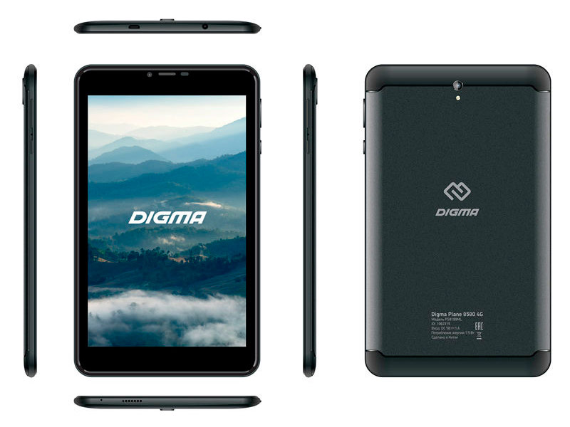 Планшет Digma Plane 8580 4G Black PS8199ML (MediaTek MT8735 1.0 GHz/2048Mb/16Gb/GPS/3G/Wi-Fi/Bluetooth/Cam/8.0/1280x800/Android)