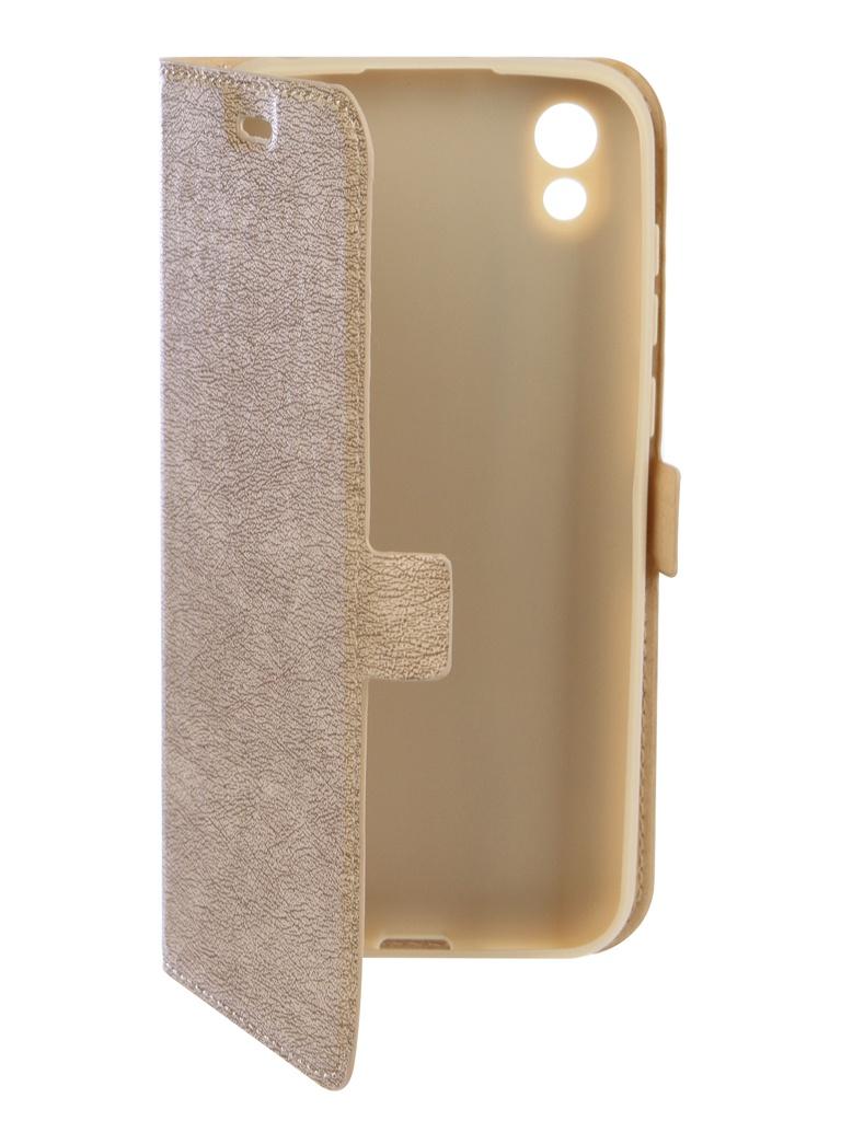 Аксессуар Чехол DF для Honor 8S Flip Case Gold hwFlip-70